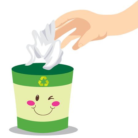 Mano del hombre tirar un papel a una papelera de reciclaje verde sonriente