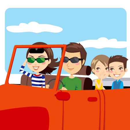 family car: Family on a convertible car enjoying summer vacation excursion
