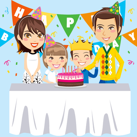 Family celebrates birthday party for the son with a strawberry cake that has six candles Vector