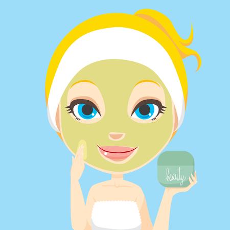 expresiones faciales: Mujer rubia aplicar el tratamiento de la m�scara de crema de belleza facial piel atenci�n Vectores