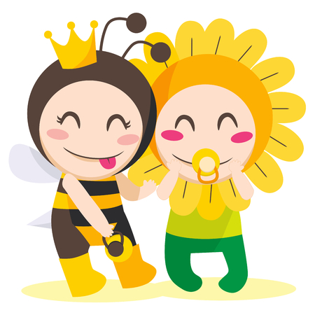 Children with queen bee and flower costumes playing together Vector