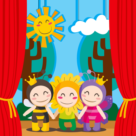 Three children in costumes performing a theater play on stage Vector