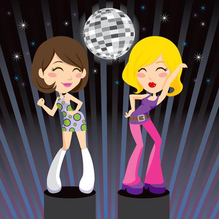 disco parties: Hermosa morena y rubios chicas go-go bailando m�sica disco en podio de discoteca