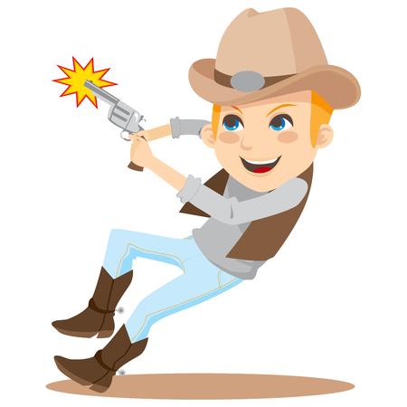 sparare: Giovane ragazzo tiro con pistola e indossare il costume da cowboy