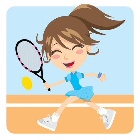 tennis racquet: Pretty young brunette girl playing tennis actively Illustration