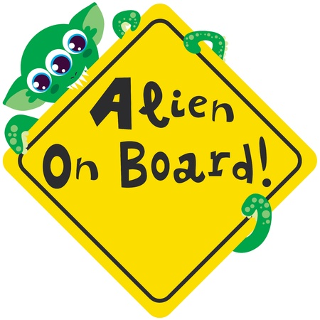 Alien on board bites yellow diamond warning sign Stock Vector - 9145151