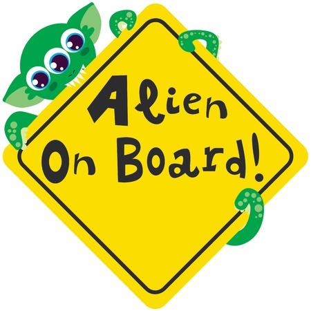 advisory: Alien on board bites yellow diamond warning sign