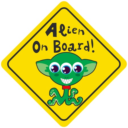 Alien on board yellow diamond warning sign for vehicle safety Vector