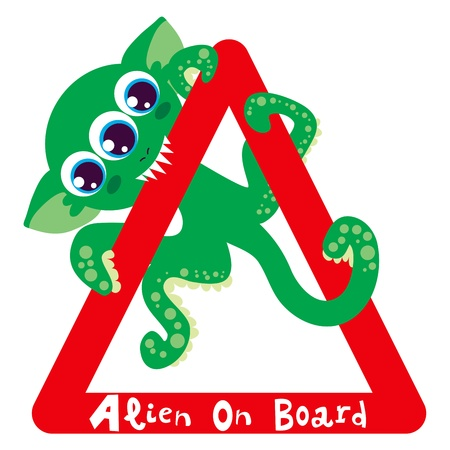 Alien on board bites red triangle warning sign Vector