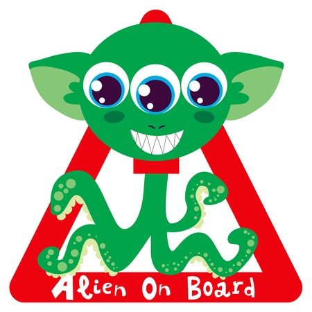 Alien on board red triangle warning sign for vehicle safety Vector