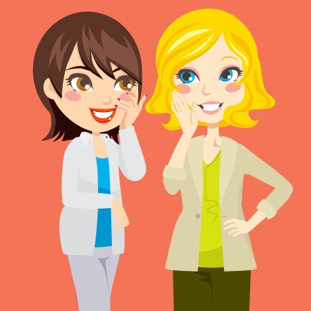 listening to people: Pretty blond and brunette women gossiping friendly Illustration