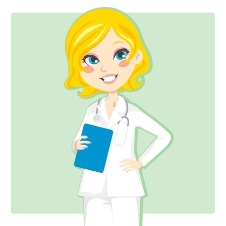 doctor dibujo animado: Médico de hermosa mujer rubia sonriente y sosteniendo un portapapeles