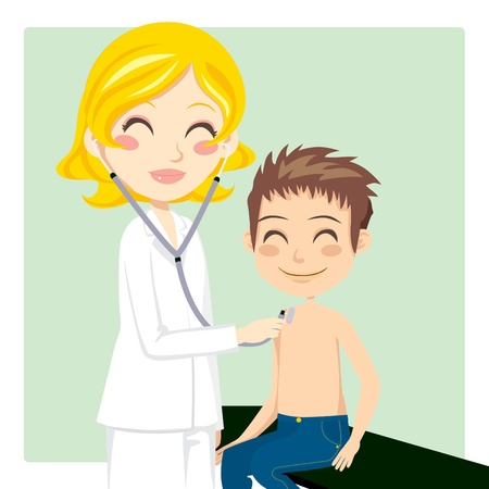 Pretty blond woman doctor examining little boy with stethoscope Vector