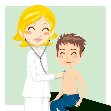 patient arzt: Ziemlich blonde Frau Doktor kleiner Junge mit Stethoskop Untersuchung