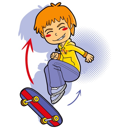 youth sports: Sporty boy with hooded sweatshirt skating in skateboard making acrobatic jumps Illustration