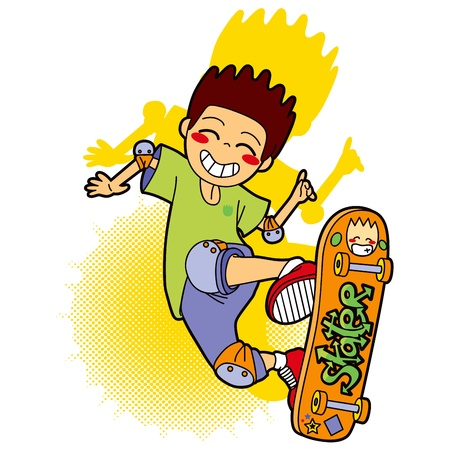 Sporty boy with protection pads skating in skateboard making acrobatic jumps Vector