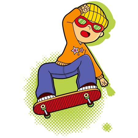 skater boy: Sporty boy with sunglasses and hat skating in skateboard making acrobatic jumps