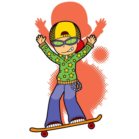 Sporty boy with star pattern sweatshirt skating and making acrobatic jumps Vector
