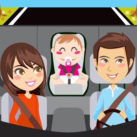Famiglia felice seduto dentro auto guida attraverso una strada con cinture di sicurezza fissata