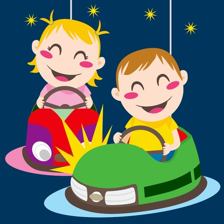 fairground: Boy and girl driving bumper cars having fun colliding