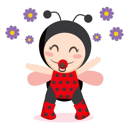 Cute sweet baby girl wearing ladybug costume Vector