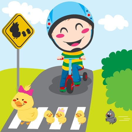 Boy on tricycle waiting in front of a ducks crossing sign Vector