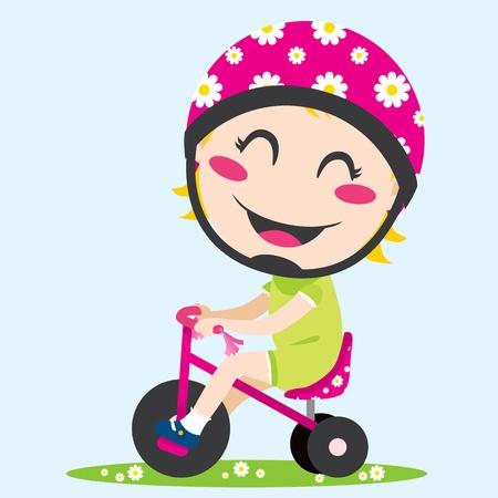 driewieler: Lief klein meisje rijden een driewieler met veiligheidshelm Stock Illustratie