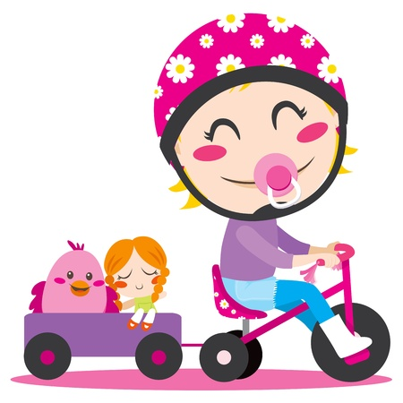 stuffed toy: Sweet little girl driving a tricycle with trailer full of toys Illustration