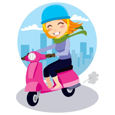 drives: Pretty girl riding a pink scooter with blue helmet, green scarf and leather gloves Illustration