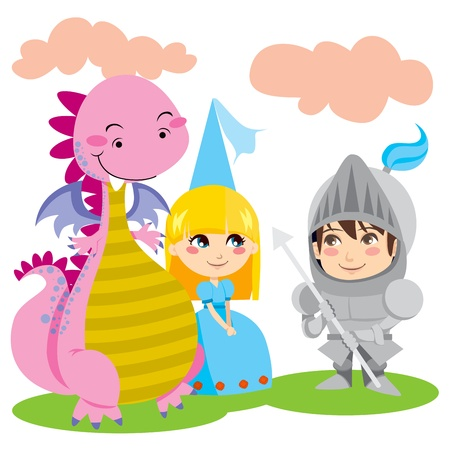 Knight in steel armor talks with pretty blond princess and her pink dragon friend Vector