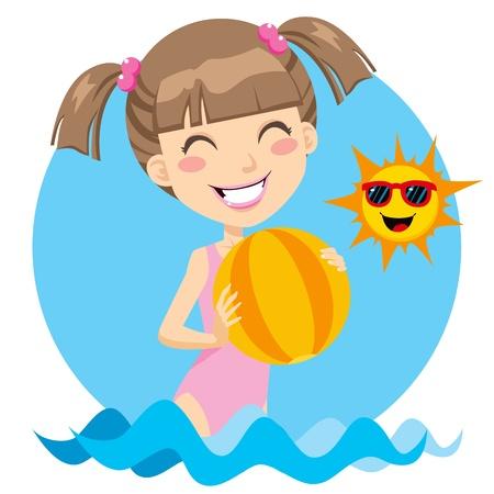niñas: Linda chica jugando con una pelota de playa sobre el agua disfrutando de un día soleado