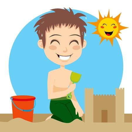 Kleine jongen zweten bouwen van een zandkasteel op het strand met shovel en emmer op een warme zonnige zomerdag