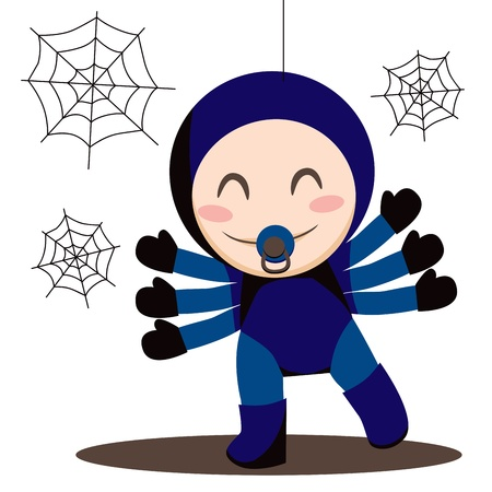 Cute sweet baby boy wearing spider costume Vector