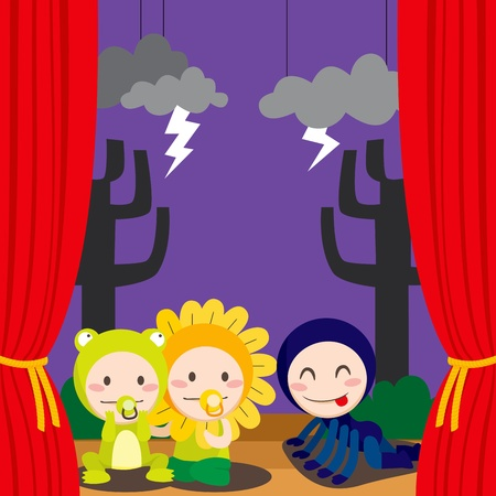 Three children in costumes performing a scary theater play on stage Vector