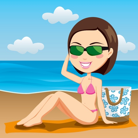beach illustration: Gorgeous brunette with sunglasses sunbathing on the beach sitting on a towel