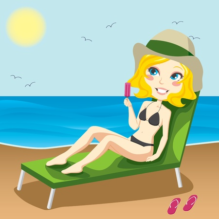 chaise lounge: Attractive blond woman sitting on a chaise lounge sunbathing and eating an ice
