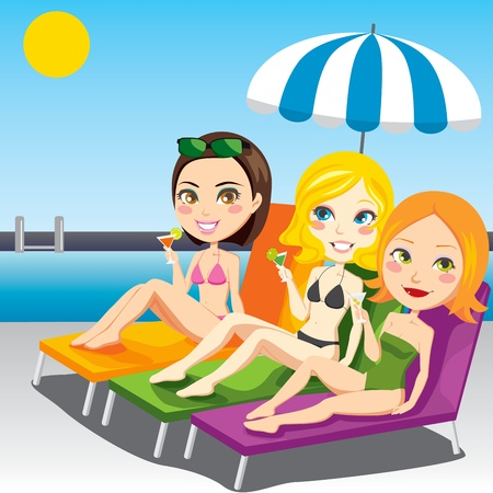 bikini cartoon: Three attractive women drinking cocktail on swimming pool side sitting on chaise lounge