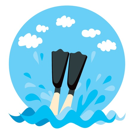 flipper: Person legs splashing on water with diving flippers Illustration