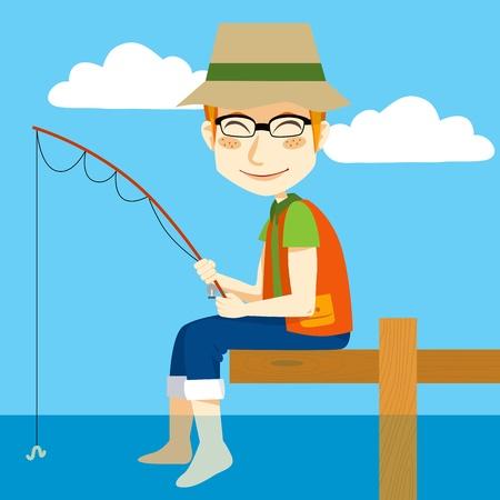 pescador: Hombre sentado en una base de pesca con caña y refrescante pies sobre el agua