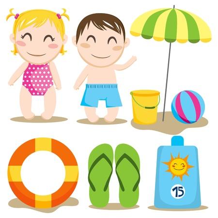 enfant maillot de bain: Deux enfants et une collection de jouets et articles de plage Illustration