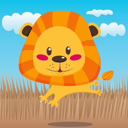 Linda León sonriente felizmente saltando y ejecutando al aire libre en la sabana Ilustración de vector