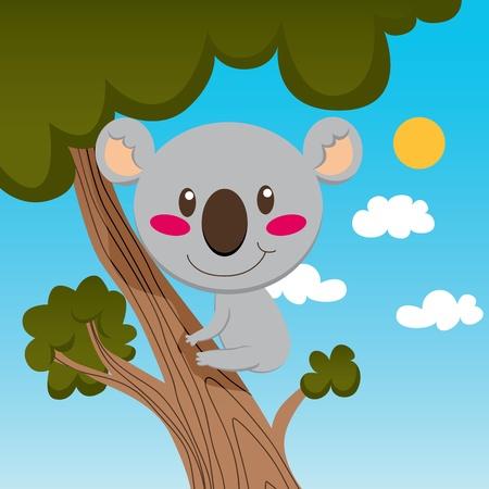 Little koala smiling on a high tree branch enjoying nature Stock Vector - 9304270