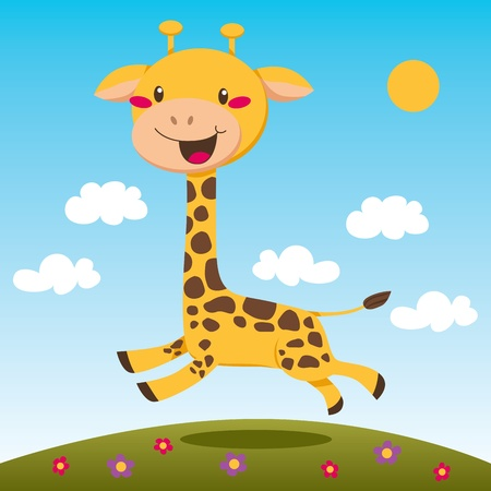Happy giraffe jumping and running outdoors on a daisy flower field Illustration