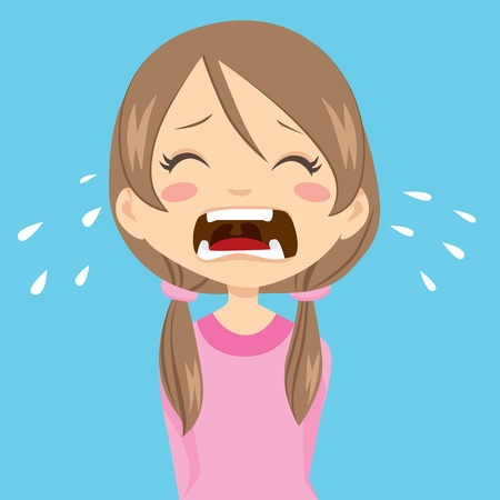 Lonely and sad little girl crying with ponytails and pink sweater Vector