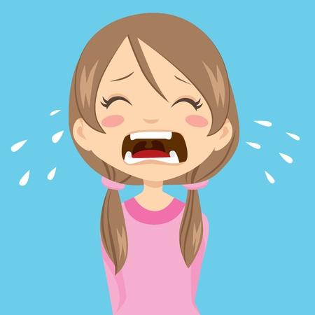 fille pleure: Solitaire et triste petite fille pleurer avec ponytails et chandail Rose Illustration