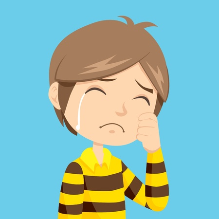 Lonely and sad little boy crying with stripped polo shirt