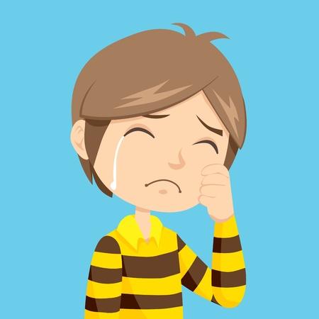 enfant qui pleure: Solitaire et triste petit gar�on pleurer avec stripped polo shirt
