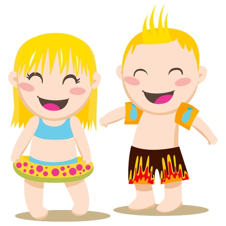swim boy: Blond girl and boy ready to swim with swimming ring and inflatable armbands