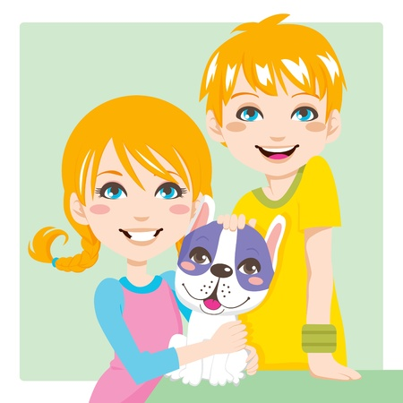 Red haired boy and girl brothers posing with french bulldog pet looking at front Vector