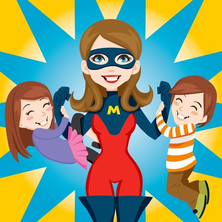 mom and son: Son and daughter hanging on Super Hero Mom strong arms Illustration